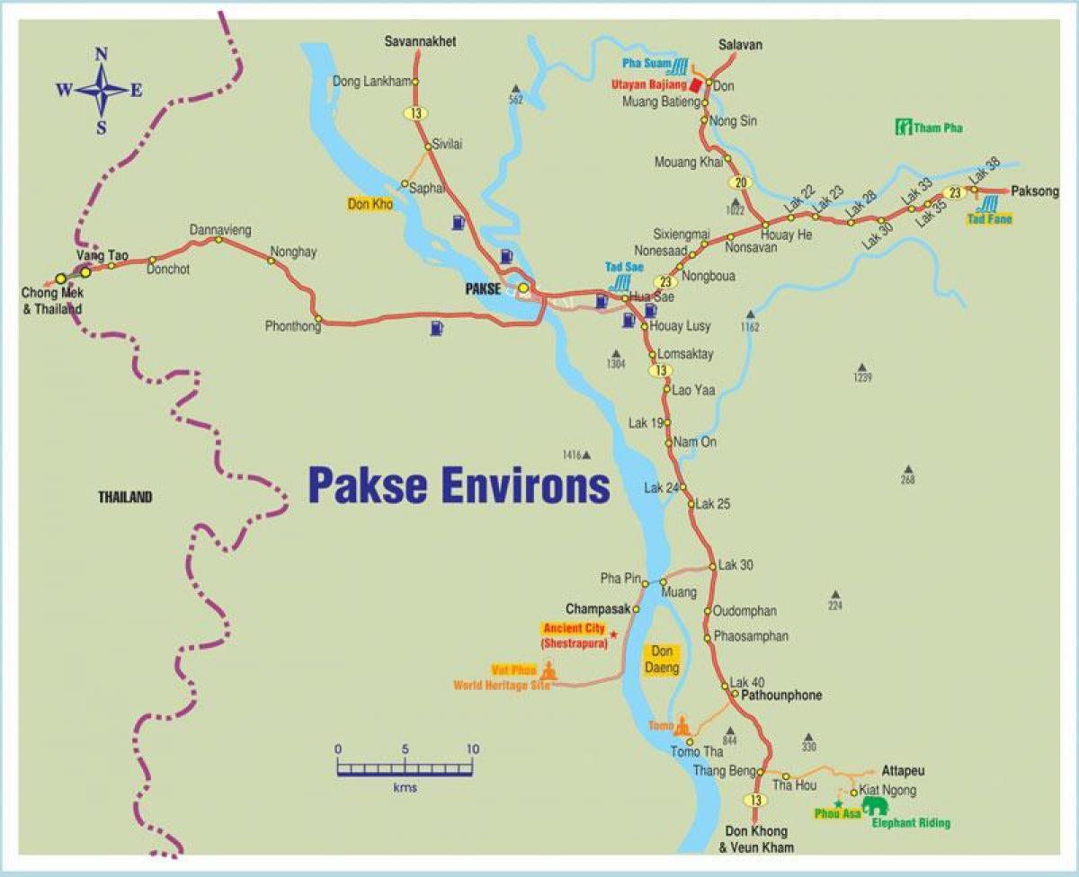 Pakse laos Landkarte - Karte von pakse laos (Südost-Asien ...